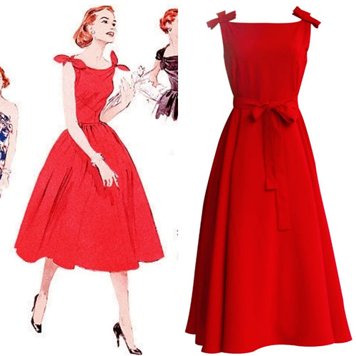 1950s Style Sundress (Black/Red/Blue/Cream)