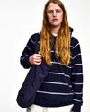 Pop Striped Hooded Sweat Navy/Violet