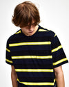 Pop Striped Pocket T-Shirt Navy/Electric Yellow
