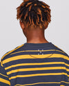 Pop Striped Pocket T-Shirt Charcoal/Burnt Yellow