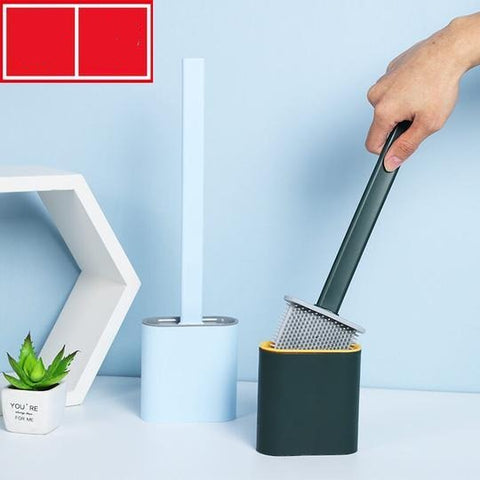 SILICONE FLEX TOILET BRUSH WITH HOLDER
