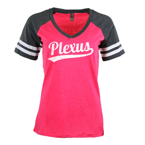 Plexus® Baseball Style Striped V-Neck T-Shirt