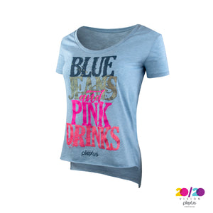 Women's Blue Jeans and Pink Drinks Tee