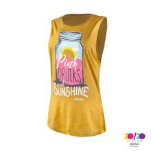 Load image into Gallery viewer, Pink Drinks and Sunshine Muscle Tank