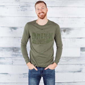 Men's Green Drink Pink Long Sleeve