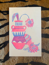 Load image into Gallery viewer, Sad Flower risograph print