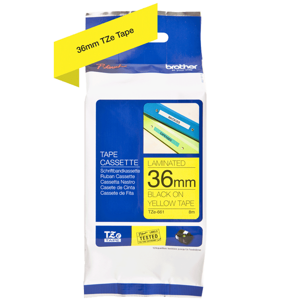 Genuine Brother TZe Labelling Tape – 36mm width – Assorted Colours