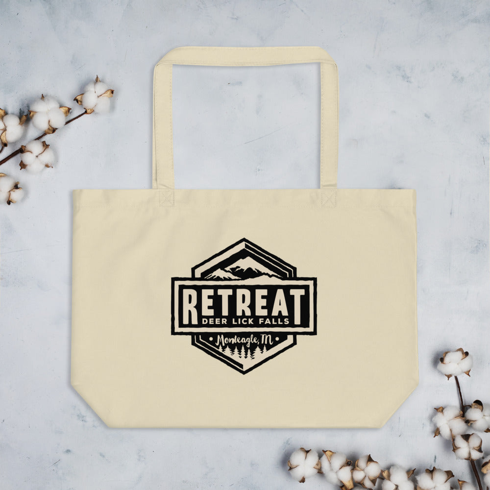 The Retreat at Deer Lick Falls Large organic tote bag - The Retreat by Oakstone