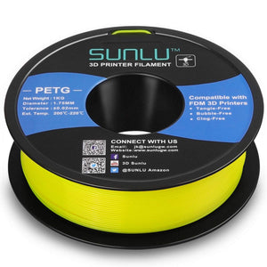 SUNLU PETG Filament 1.75mm with sunlu upgrade 1kg Spool (2.2lbs), Dimensional Accuracy +/- 0.02 mm, Fit Most FDM Printer, Yellow