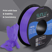 Load image into Gallery viewer, SUNLU PETG Filament 1.75mm with sunlu upgrade 1kg Spool (2.2lbs), Dimensional Accuracy +/- 0.02 mm, Fit Most FDM Printer, Purple