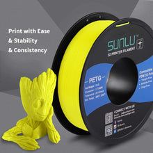 Load image into Gallery viewer, SUNLU PETG Filament 1.75mm with sunlu upgrade 1kg Spool (2.2lbs), Dimensional Accuracy +/- 0.02 mm, Fit Most FDM Printer, Yellow