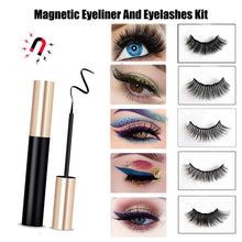 Load image into Gallery viewer, Magnetic Eyelashes, Magnetic Eyelash Kit with Eyeliner, 3D Natural Look Magnet Eyeliner No Glue Needed Reusable Handmade Soft False Lashes(5 Pairs Style) Rendering Eye Decoration