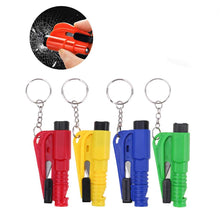 Load image into Gallery viewer, 3 in 1 Car Life Keychain Emergency Escape Tool with Car Window Car Safety Rescue Tool Window Glass Breaker Safety Seat Belt Cutter Hammer with Keyring (Random Color) 4PCS