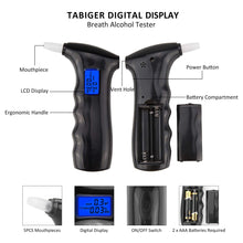 Load image into Gallery viewer, TABIGER Breathalyzer, Portable Breath Alcohol Tester Digital LCD Display Alcohol Detector Accurate Analyser with 5PCS Mouthpieces (2019 Upgraded Version)
