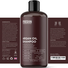 Load image into Gallery viewer, Moroccan Argan Oil Shampoo with Biotin and Vitamin B5 | Anti-Hair Loss, Restorative Formula, Stimulate Hair Growth, Prevent Hair Loss | For All Hair Types, Men & Women | 16 Fl Oz / 473ml