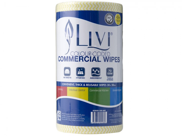 Commercial Wipes Blue/Red/Green/Yellow/Brown - Carton of 4 Rolls