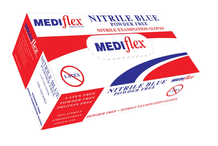 Nitrile Blue Nitrile Glove - Premium Examination Grade - Box of 100 Gloves