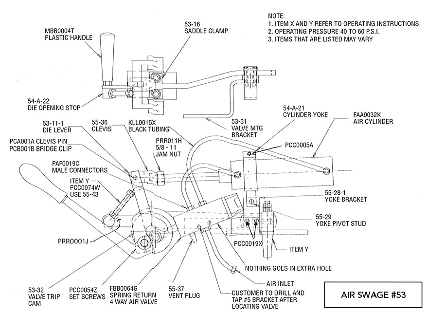 Hanchett #53 Air Swage Parts Diagram, Smith Sawmill Service