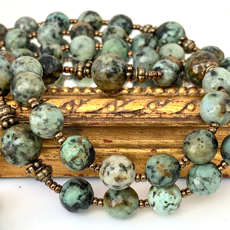 African Turquoise jaspar beads with bronze spacers
