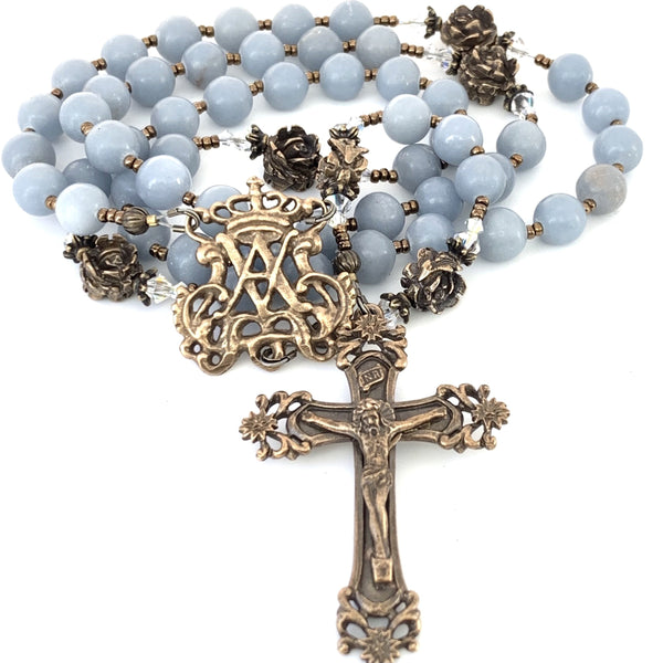 Auspice Maria Center with crown, bronze crucifix and angelstone Ave Maria (hail mary) beads with bronze rose our father beads