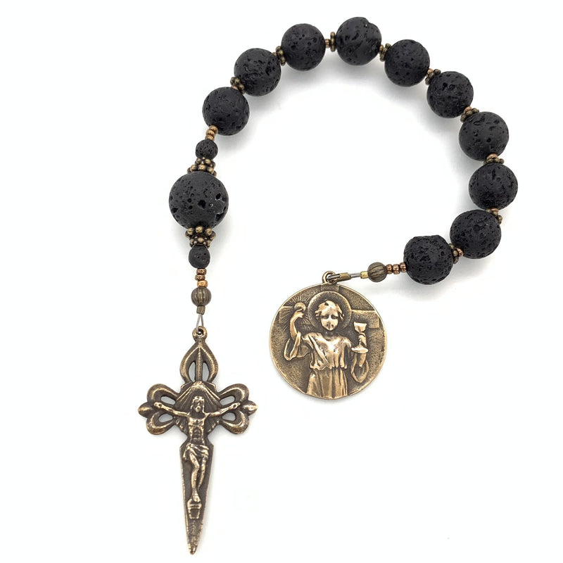 Handsome single decade for boys featuring lava rock rosary beads and St James crucifix