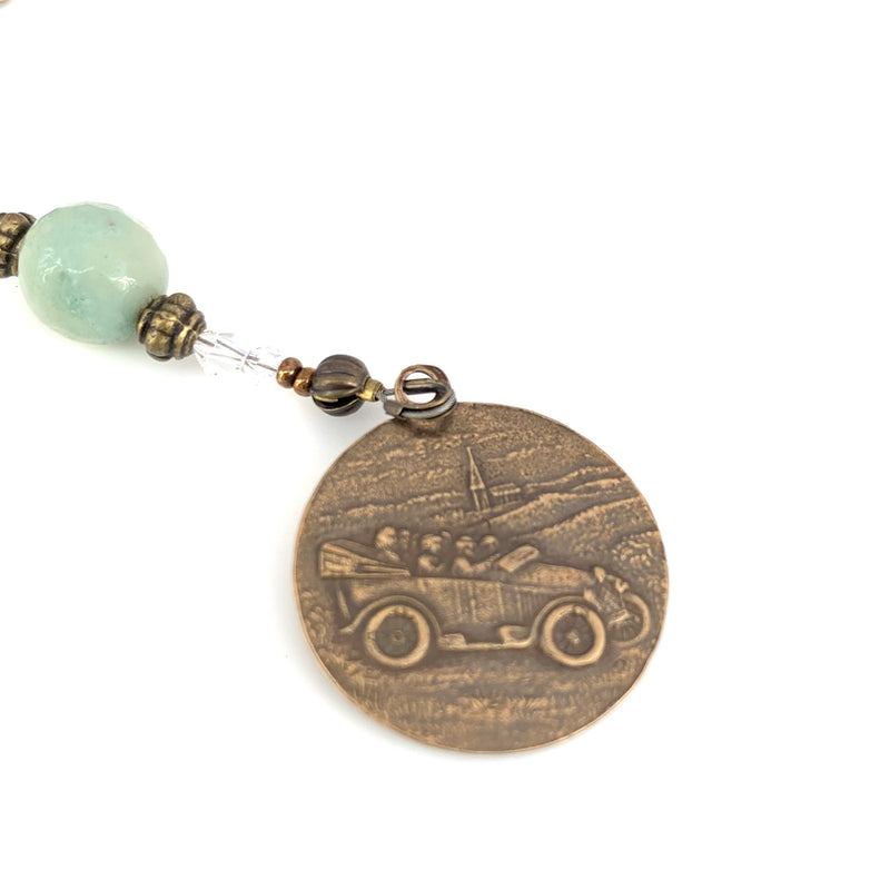 Green Amazonite and Bronze Car Rosary