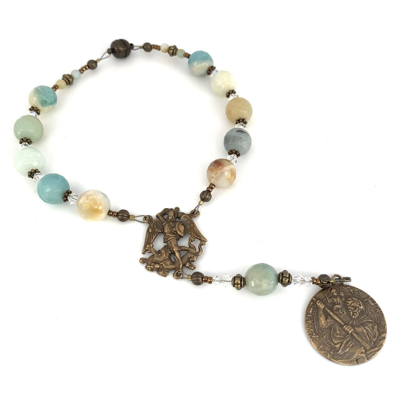 Car rosary featuring St Michael the Archangel and St Christopher with amazonite rosary beads