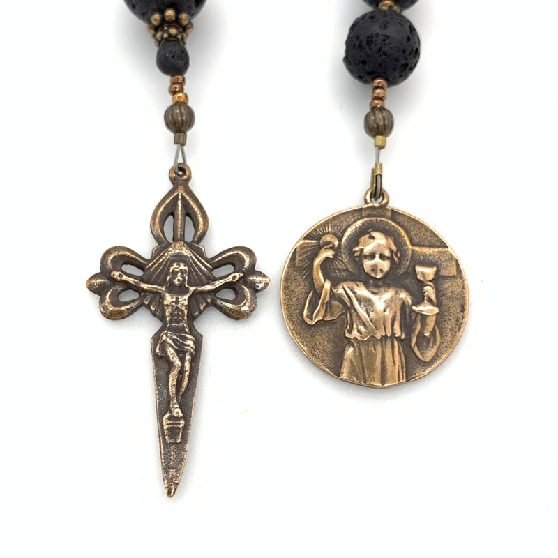 Lava Rock and Bronze Young Jesus with Eucharist Single Decade Rosary