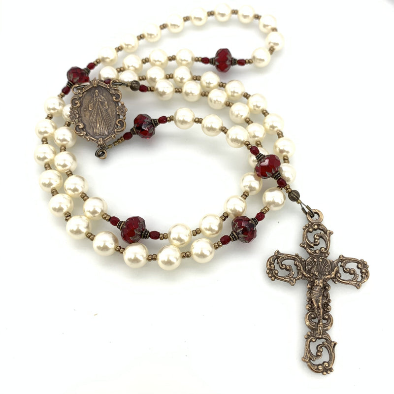 Chaplet of divine mercy with white immitation pearls and red czech starburst beads