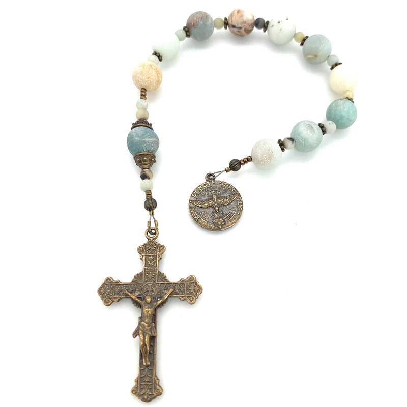 Amazonite beads in single decade rosaray with bronze holy spirit medal and crucifix