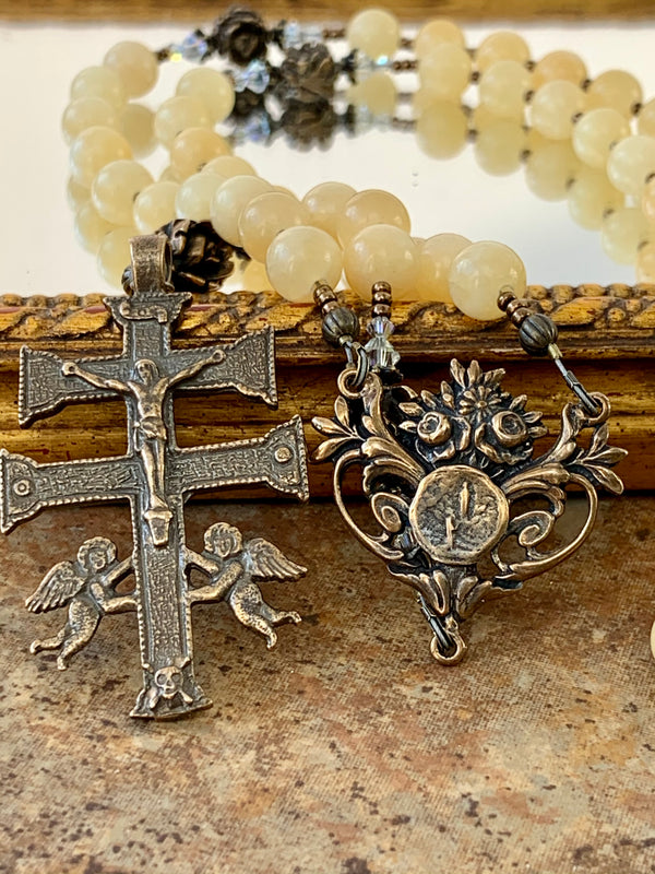 Yellow Calcite and Bronze Rosary, Lourdes Center and Caravaca Crucifix