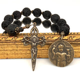 Single Decade Rosary with Lava Rock hail Mary rosary beads and Bronze Young Jesus with Eucharist