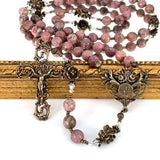 Rosary with pink rhodonite rosary beads and bronze Our Father rose beads