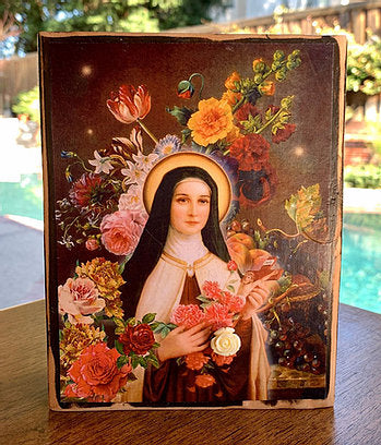 "St. Therese Little Flower #2 Icon Block 7""h x 5.5""w"