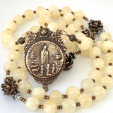 Yellow Calcite and Bronze Rosary, Fatima Center and Scrolls Crucifix