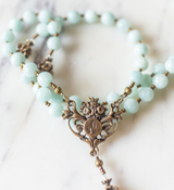 Green Amazonite and Bronze Rosary, Lourdes Center and Scrolls Crucifix