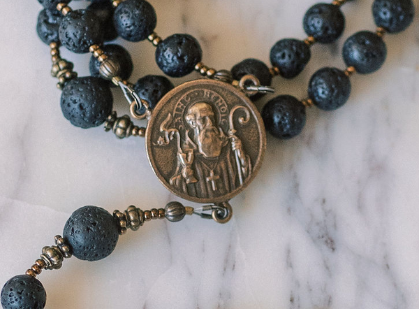 Lava Rock and Bronze Rosary, St. Benedict Center and Holy Face Cross