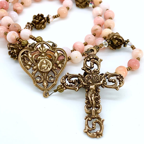 Pink Opal and Bronze Rosary, St. Therese of Lisieux Center and Elaborate Scrolls Crucifix