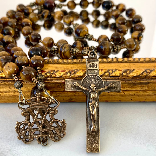 Golden brown Tiger Eye and Bronze Rosary, Auspice Maria Center and St. Benedict Crucifix