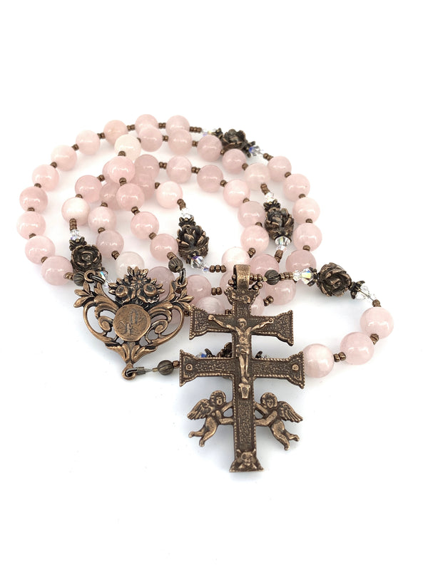 Rose Quartz and Bronze Rosary, Lourdes Center and Caravaca Crucifix
