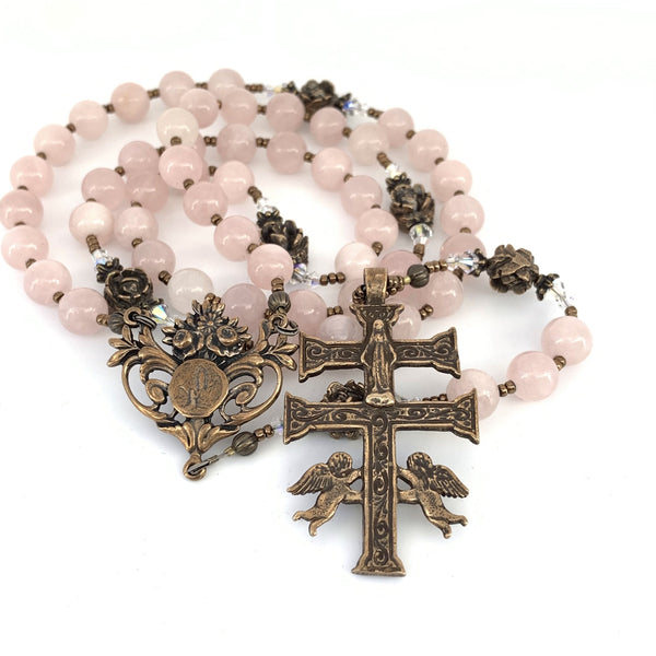 Beautiful Rosary with Rose Quartz hail Mary rosary beads, Bronze Lourdes Center and Caravaca Crucifix
