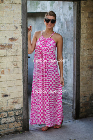 PINK DART SURPRISE Maxi Dress