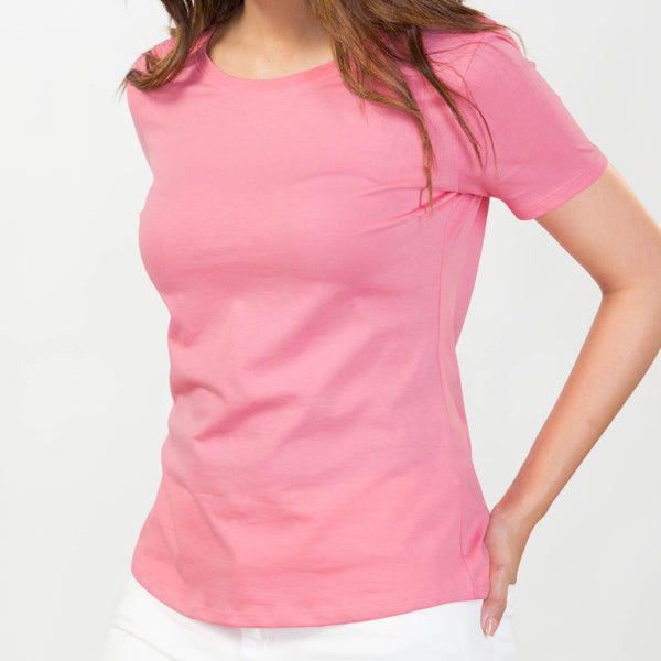 Shibusa women's Supima cotton pink round neck t-shirt