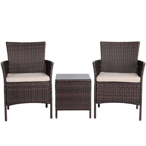 Yaheetech Three Piece Suit Rattan Chairs and Table