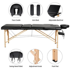 Yaheetech 84 Inch Adjustable 3 Fold Salon Massage Bed