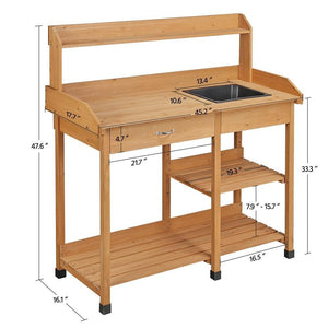 Yaheetech Potting Bench Table with Sink