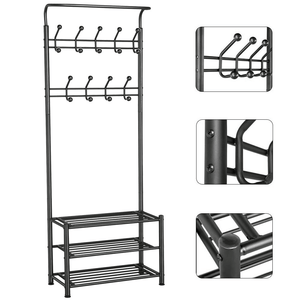 Coat Rack 18 Hooks 3-Tier Shoe Rack Hall Tree