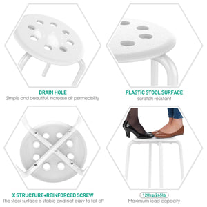 Plastic Stack Stools White/Black