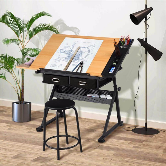 Yaheetech Height Adjustable Drawing Table Desk Work Station