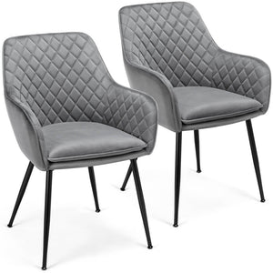 Yaheetech Modern Dining Chairs Gray 2PCS